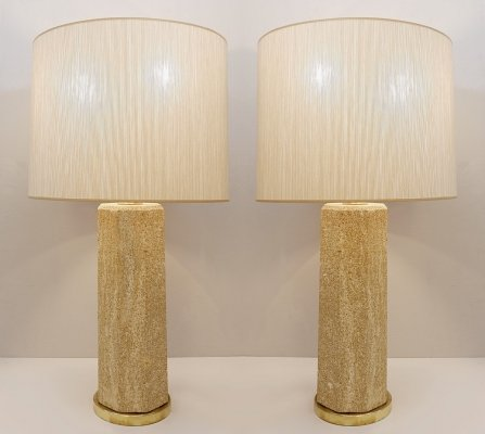 Pair of French Stone Lamps, 1970s