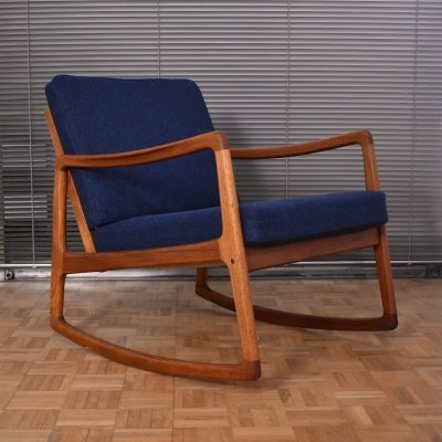 Ole Wanscher Model 120 Teak Rocking Lounge Chair