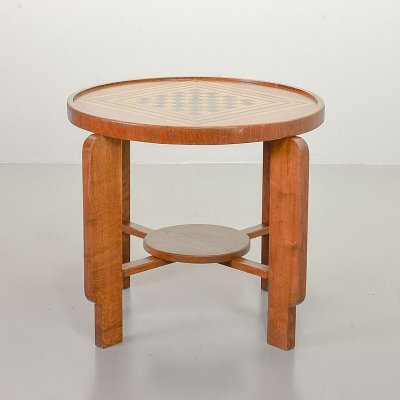 Art Deco Style 'Amsterdam School' Solid Wood Chess Table, The Netherlands 1950s