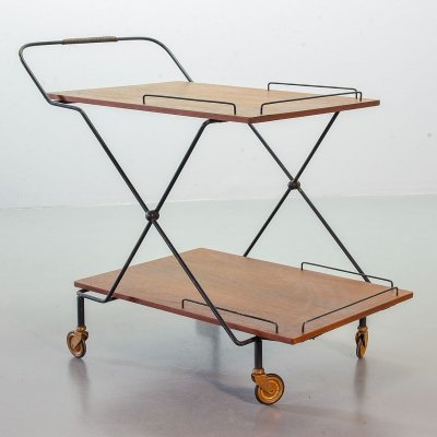 Minimalistic Foldable & Mobile Teak Tea Trolley on Black Steel Frame, 1950s