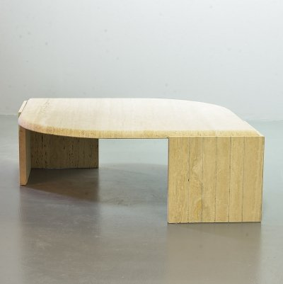 Roche Bobois travertine coffee table with floating faceted top in teardrop shape