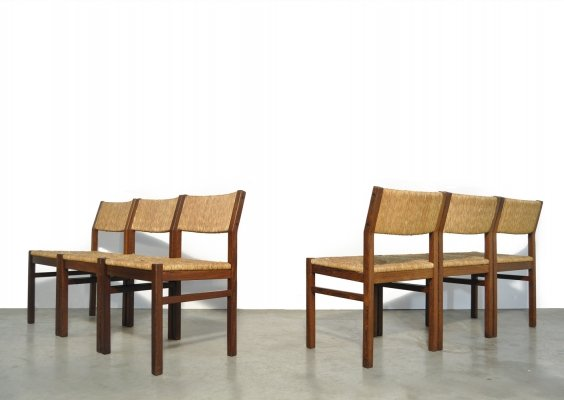 Set of 6 vintage dining chairs with reed seat by Pastoe, 1970s