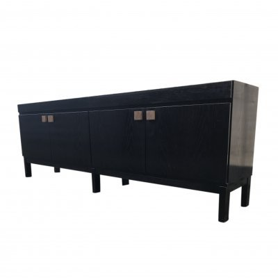 Long brutalist black oak sideboard, Belgium 1970s