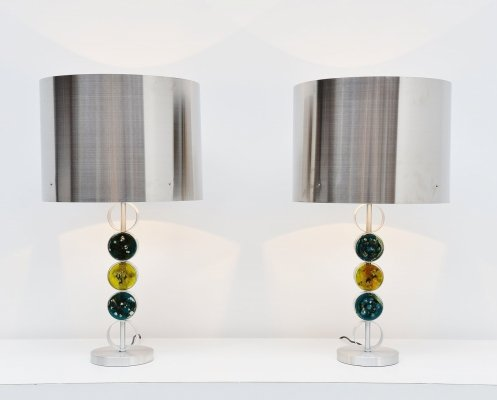 Pair of large Raak D-2095 table lamps, Holland 1972