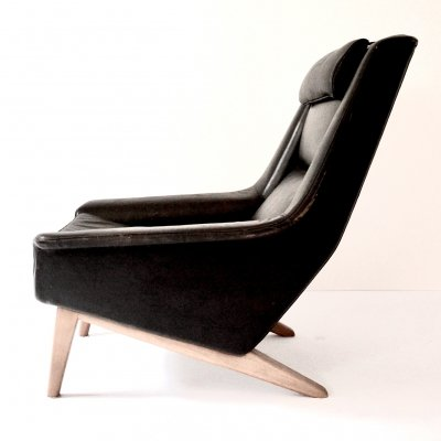 Leather Lounge Chair M 4410 by Folks Olsson for Fritz Hansen, 1960s
