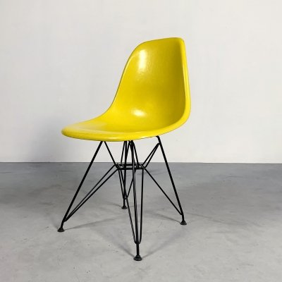Yellow DSW Dining Chair by Charles & Ray Eames for Herman Miller, 1980s