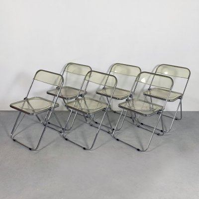 6 Plia folding chairs by Giancarlo Piretti for Castelli, 1960s