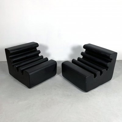 Leather Karelia Lounge Chairs by Liisi Beckmann for Zanotta, 1970s