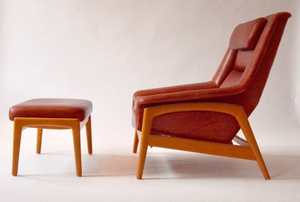 Adjustable Red Leather Armchair & Ottoman by Folke Ohlsson, 1960s