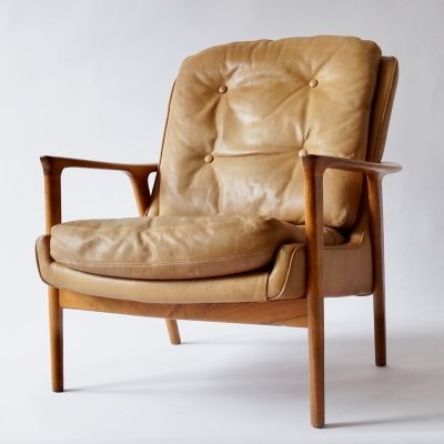 Brown Leather Tunis Armchair by Inge Andersson, 1960s