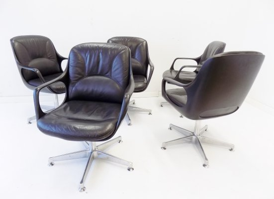 Chromcraft set of 5 black leather armchairs, 1960s