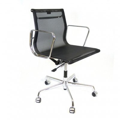 EA117 black netweave office chair by Charles & Ray Eames for Vitra, 1990s