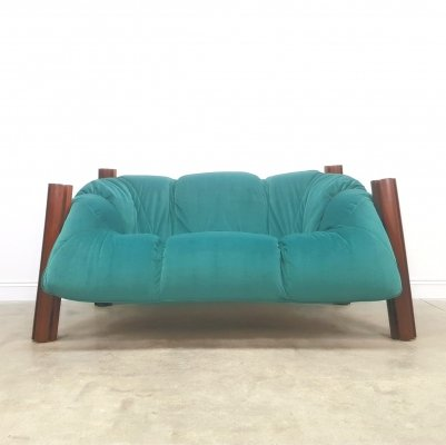 Percival Lafer Two Seat Sofa in Luxury Velvet, Brazil 1960