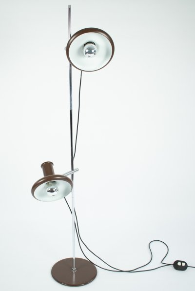 Hans Due for Fog & Morup chocolate brown Optima 4 floor lamp, 1970's
