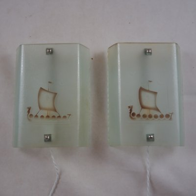 Pair of Etched raw glass sconces with viking ship motive, Sweden 1940's