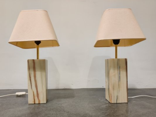 Pair of marble table lamps, 1960s