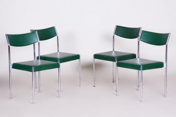 Set of 4 Leatherette & Chrome Mid-Century Chairs, 1950s