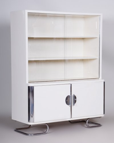 White Vintage Chrome Bauhaus Bookcase manufactured by Vichr & Spol, 1930s