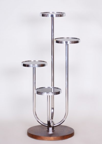 Bauhaus Chrome & Walnut Flower pedestal by Jindrich Halabala for UP Zavody, 1930s
