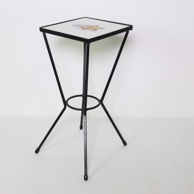Small steel plant table with clown tile, 1960s