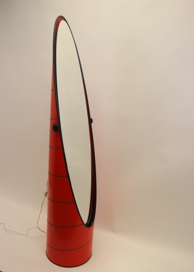 Vintage Swedish Red Lipstick Floor Mirror, 1970s