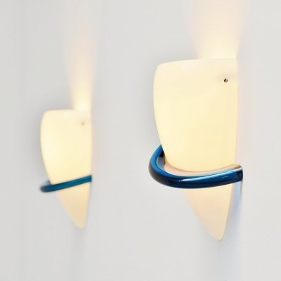 Pair of blue swan sconces by Tina Aufiero for Venini, Italy 1989