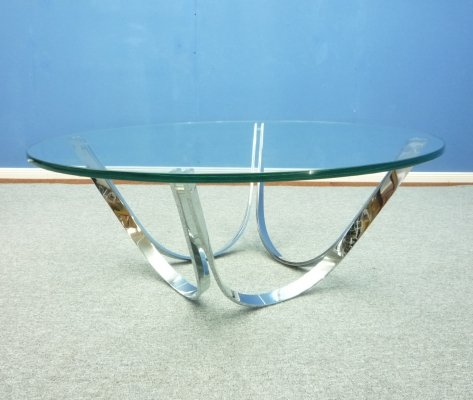 German Glass Coffee Table by Werner Linder for Bacher, 1960s