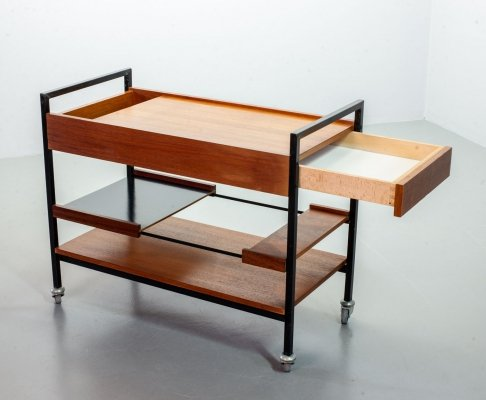 Japan Style Minimalistic Teak & Steel Bar/Tea Trolley, The Netherlands 1960s