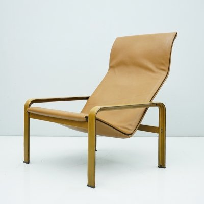 Matteo Grassi Lounge Chair in Cognac Brown Leather, 1970s