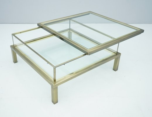 Brass Coffee Table with Sliding Top, France 1970s