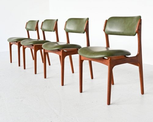 Set of 4 Erik Buch model 49 teak dining chairs by Oddense Maskinsnedkeri, Denmark 1960