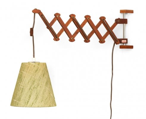 Teak wood wall lamp with original shade by Esshå Produkter, Sweden 1960s