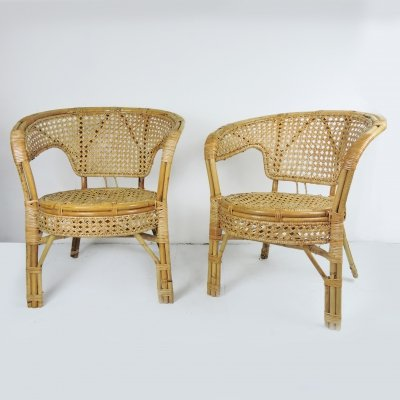 Pair of Cane & Rattan Armchairs, 1960s