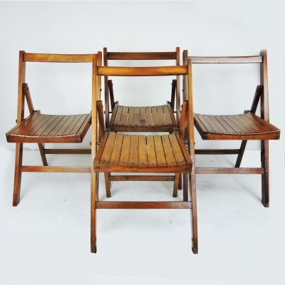 Set of 4 George VI Folding Campaign Chairs Used by British Military During WWII, 1940s