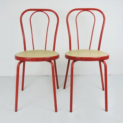 Pair of Red Painted Metal Chairs with Plastic Cane Seat, 1980s