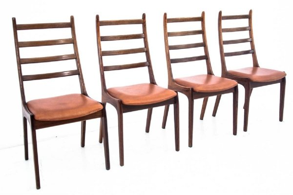 Set of 4 Danish Dining Chairs with ladder back, 1960s