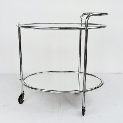 Vintage Mirrored Glass & Chrome French Drinks Trolley, 1950s
