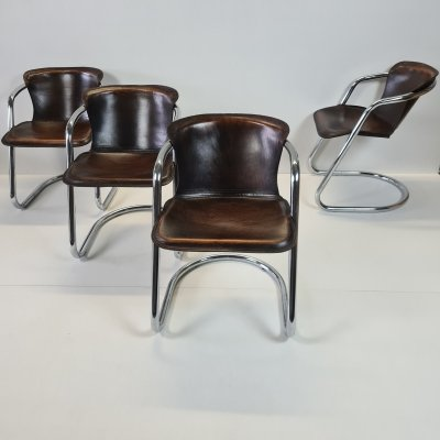Set of 4 tan leather armchairs by Willy Rizzo for Cidue, 1970s