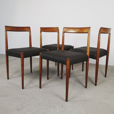 Set of 4 Lubke dining chairs in brown, 1960s