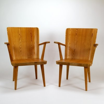 Pair of Pine Lounge Chairs by Göran Malmvall for Karl Andersson & Söner, Sweden 1950s