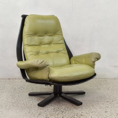 Leather Swivel Chair, 1960s