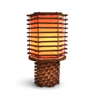 Oriental Table Lamp in Wood & Linen, Asia 1950's