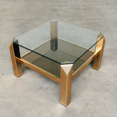 Modernist Design Gold Coffee table by Belgochrom, Belgium 1970's