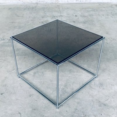 1970's Sleek Design Metal & Fumé Glass Square Side Table