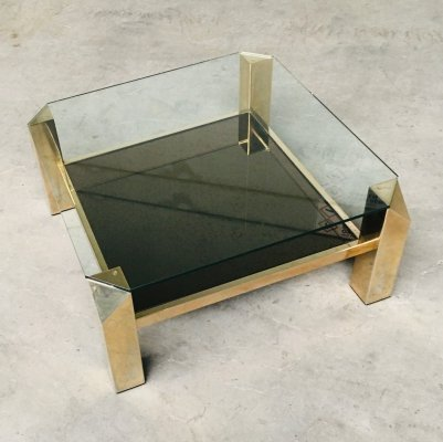 Modernist Design Brass & Glass Coffee Table by Belgochrom, 1980's