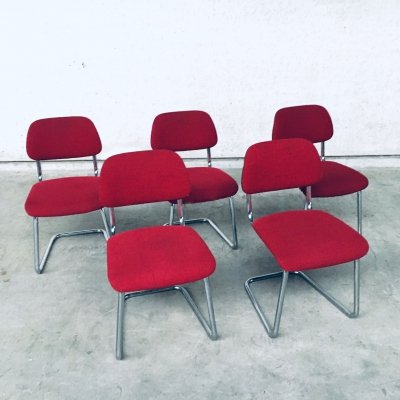 Midcentury Modern Design set of 5 Office Dining Chairs, Holland 1960's