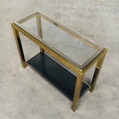Brass & Chrome Two-Tier Console Table by Belgo Chrom, 1970's