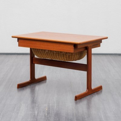 Danish mid century teak side table / sewing table by Kai Kristiansen, 1960s