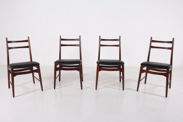 Suite of 4 rosewood & faux leather chairs, 1960's
