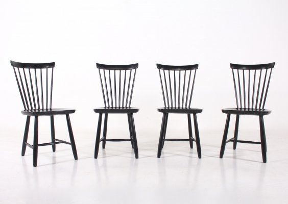 Suite of 4 black lacquered wood chairs, 1960's